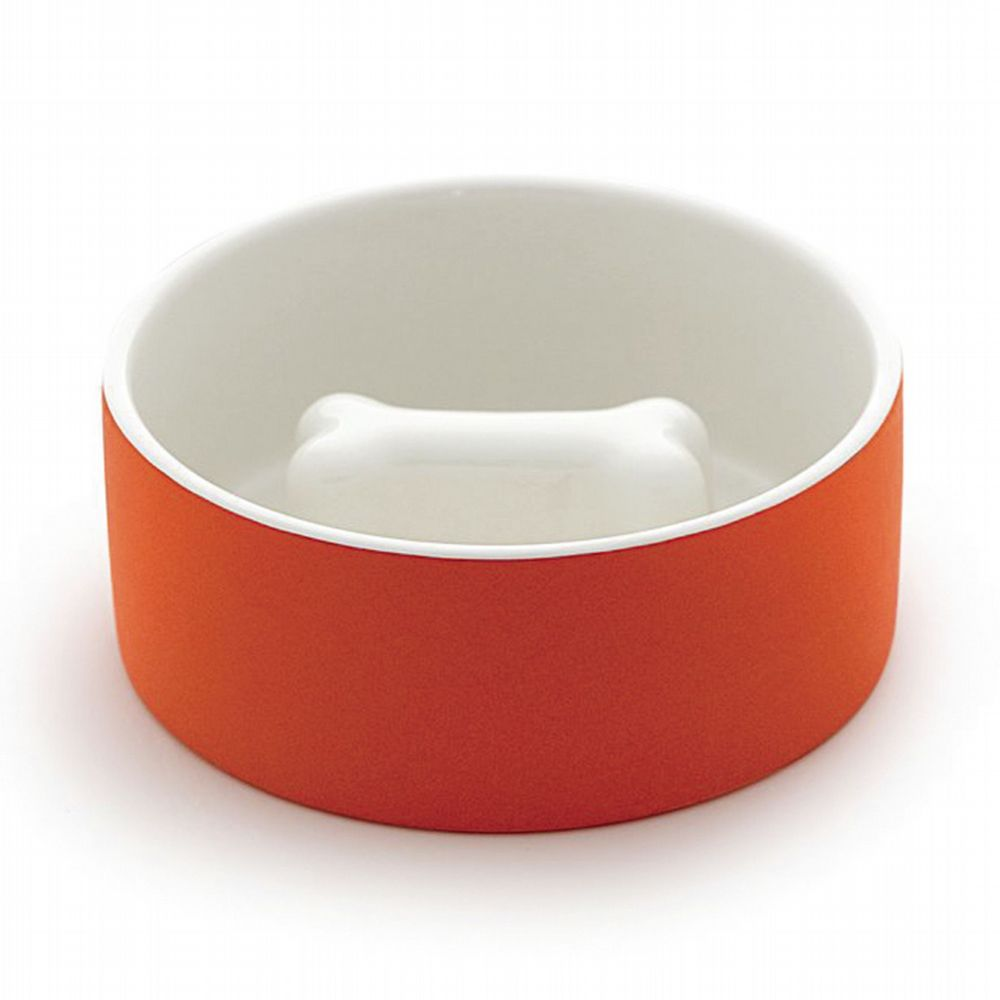 Self-Cooling Slow Feed Pet Bowl - Orange  (2 Sizes Available)